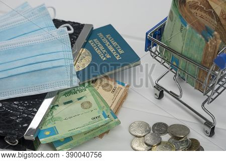 Quarantine And Border Closure In Kazakhstan For Coronavirus. On The Table Are Money In Tenge With Me