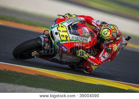 CHESTE - NOVEMBER 10: Valentino Rossi during GP of the Comunitat Valenciana, on November 10, 2012, in Ricardo Tormo Circuit of Cheste, Valencia, Spain
