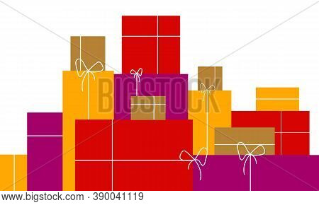 Many Gift Boxes In Flat Design, Vector Art Illustration.