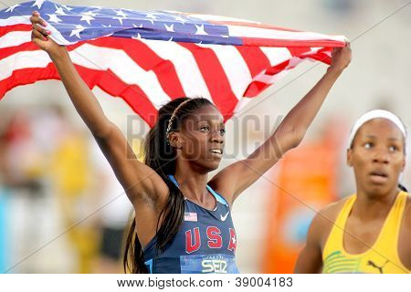 BARCELONA - JULY, 13: Ashley Spencer of USA celebrating gold in relays event of the 20th World Junior Athletics Championships at the Stadium on July 13, 2012 in Barcelona, Spain