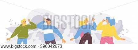 People Saying Safe Hello By Elbow Bump Greeting. Vector Concept Illustration.