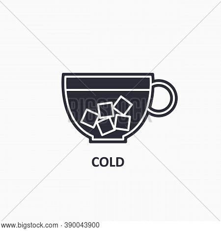 Cold Cup Icon. Icy Beverage. Ice In Cup Flat Icon.
