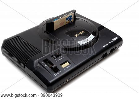 London, United Kingdom, 21st September 2020:- A Retro Sega Mega Drive 16-bit Gaming Console With Son