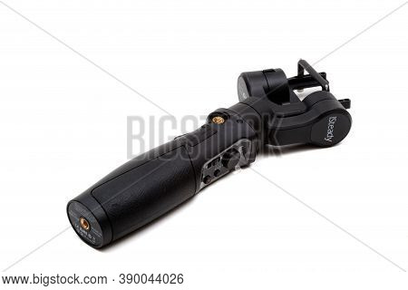 London, United Kingdom, 21st September 2020:- An Isteady Gimbal Isolated On A White Background