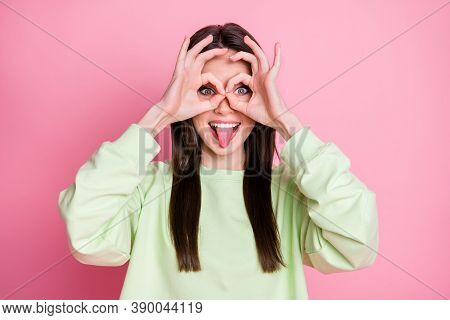 Photo Of Funny Attractive Lady Straight Hairdo Funny Girlish Sticking Tongue Out Mouth Playful Mood