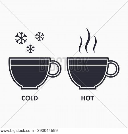 Cold And Hot Cup Icon. Steam And Snowflake Icon. Icy And Warm Beverage.