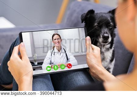 Web Video Conference Call With Doctor On Tablet Computer