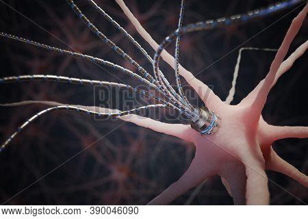Nano Technology Concept. Micro Robotic Artificial Axon On Neuron In Neural Network. 3d Rendered Illu