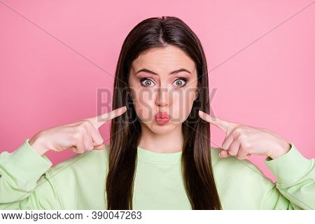 Closeup Photo Of Funky Childish Pretty Lady Long Hairdo Hold Breathe For Bet Mouth Full Air Press Fi