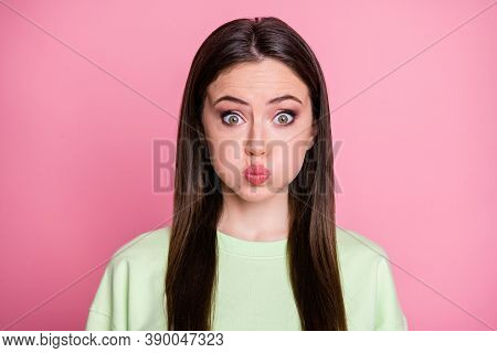 Closeup Photo Of Funky Childish Pretty Lady Straight Long Hairdo Hold Breathe For Bet Mouth Full Of