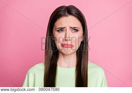 Closeup Photo Of Depressed Lady Straight Long Hairdo Look Moody Disappointed Empty Space Crying Desp