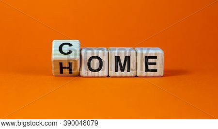 Homecoming Concept. Turned A Cube And Changed The Word 'come' To 'home'. Beautiful Orange Background