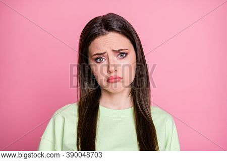 Closeup Photo Of Offended Depressed Lady Straight Long Hairdo Look Moody Disappointed Facial Express