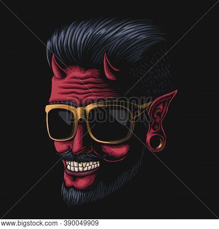 Devil Man Eyeglasses Vector Illustration For Your Company Or Brand