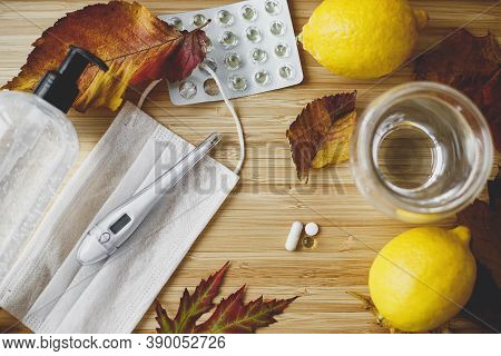 Supporting Immune System In Season Of Autumn Flu Or Coronavirus, Concept. Vitamin D, Vitamin C And Z