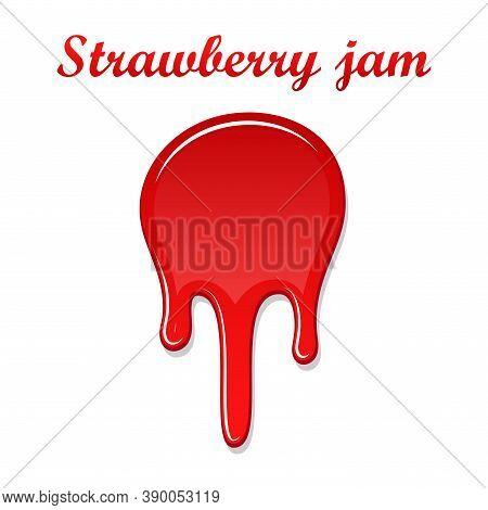 Raspberry Drip Jam 3d. Sweet Raspberries Splash Isolated White Background. Fruit Strawberry Candy Sp