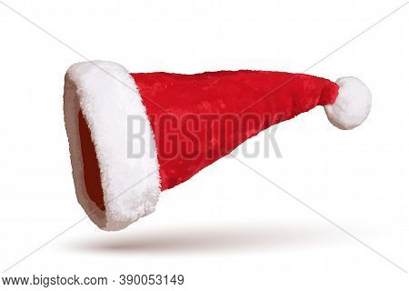 Santa Claus Hat 3d. Realistic Santa Claus Hat Isolated On White Background. Red Funny Cap Silhouette