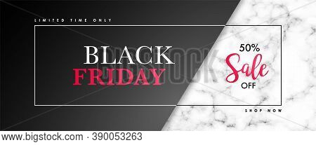 Black Friday Sale Banner With Marble Texture And Text. Vector Design Template For Websites, Advertis