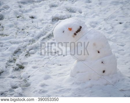 One Eyed Melting Snowman Leaned To The Side