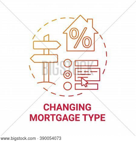 Changing Mortgage Type Concept Icon. Mortgage Refinance Benefit Idea Thin Line Illustration. Penalty