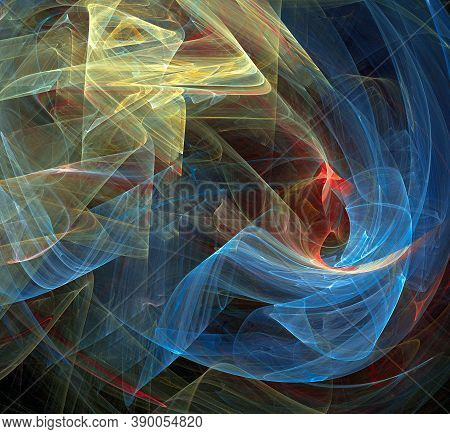 Abstract Background With Soaring Light Veils. Veils Fall In Waves Against A Dark Background. 3d Rend