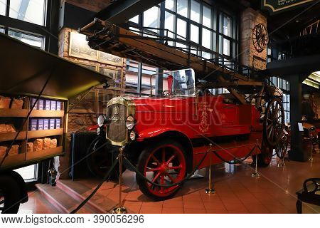 Istanbul, Turkey - September 20, 2020: Magirus 10 Firetruck Display In Rahmi M. Koc Industrial Museu