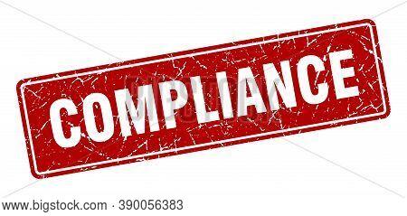 Compliance Stamp. Compliance Vintage Red Label. Sign