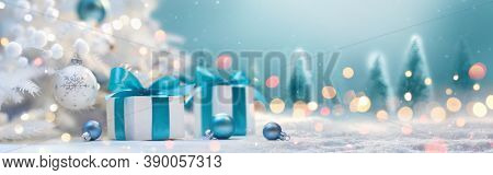 Christmas Holiday Background With Gifts And Decorations