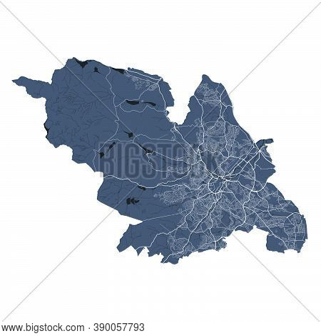 Sheffield Map. Detailed Vector Map Of Sheffield City Administrative Area. Cityscape Poster Metropoli