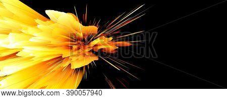 3D Digital Illustration. Color rainbow blot splash. Abstract background. Burning log and fire on black.