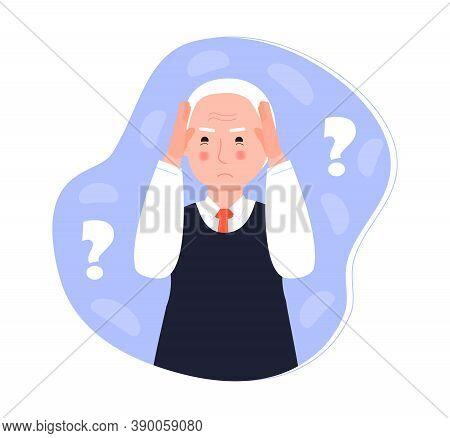 Alzheimer Old Human, Neurology Health Care, Parkinson Or Dementia Metaphor Are Shown. International