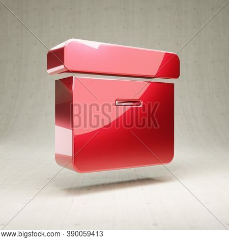 Archive Icon. Gold Glossy Archive Symbol Isolated On White Concrete Background. Modern Icon For Webs