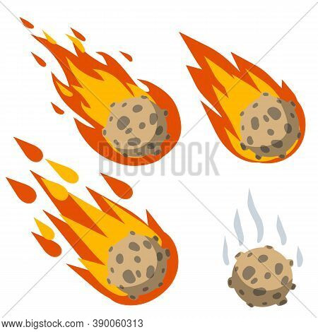 Meteor With Trail Of Fire. Cartoon Flat Illustration. Set Of Comet With Tail. Dangerous Space Object