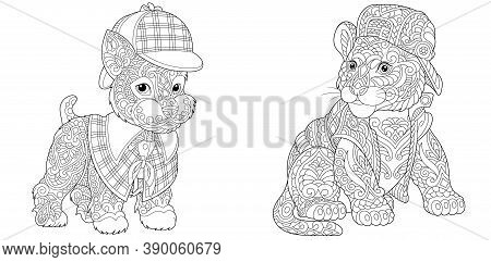 Coloring Page. Dog And Tiger Cub. Line Art Drawing For Adult Or Kids Coloring Book In Zentangle Styl