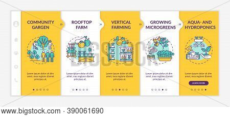 Urban Farming Onboarding Vector Template. Community Gargen. Rooftop Farm Types. Vertical Farming. Re