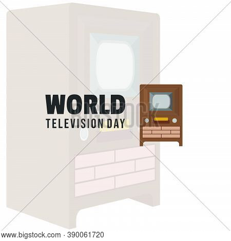 World Television Day With Classic Television Vector Illustration. Good Template For Television Or Br