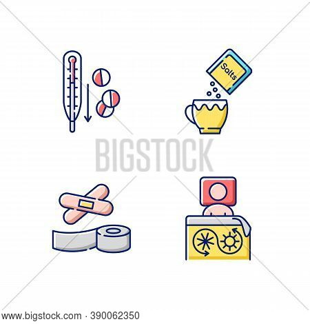 First Aid Medication Rgb Color Icons Set. Fever Reducer Pills. Oral Rehydration. Thermal Blanket. St