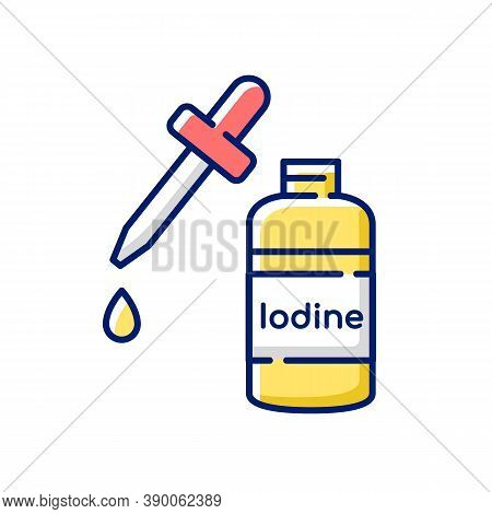 Iodine Rgb Color Icon. Fluid Cleanser In Bottle. Treatment For Wound. First Aid Supplement. Hygiene