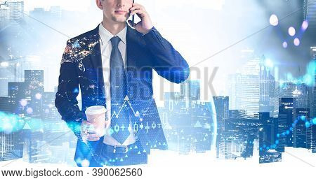 Unrecognizable Businessman Talking On Smartphone Over Cityscape Background With Double Exposure Of E