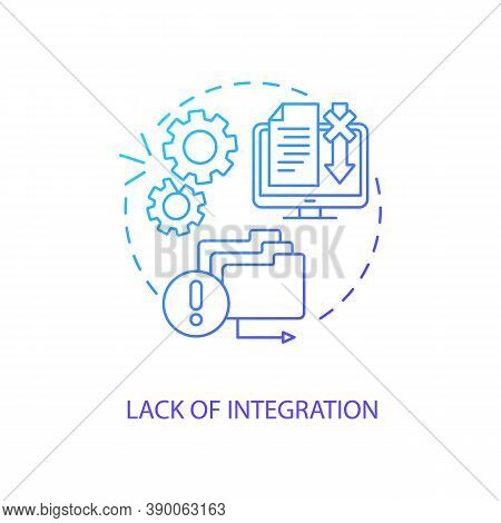 Lack Of Integration Concept Icon. Telemedicine Challenges. Database Problematic Working Process. Med