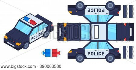 Police Car Paper Cut Toy. Kids Crafts, Create Toys With Scissors And Glue. Paper Cop Vehicle, 3d Mod