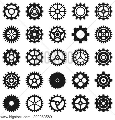 Gears. Transmission Cog Wheels And Machine Gearings, Technical Mecanisme, Engineering Motor, Button