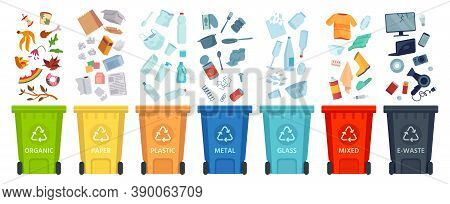 Waste Segregation. Sorting Garbage By Material And Type In Colored Trash Cans. Separating And Recycl