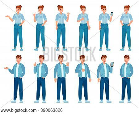 People In Jeans Gesture. Happy Standing Woman And Man In Casual Denim Shirts And Pants Showing Gestu