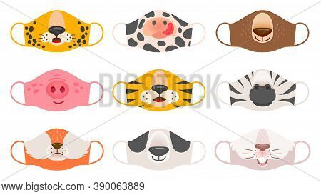 Medical Mask With Animals Faces. Tiger, Pig And Zebra, Bear And Rabbit, Fox And Cow Kids Covid-19 Pr