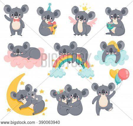 Cartoon Birthday Koalas. Lazy Koala Sleeping On Cloud. Cute Australian Animals With Balloons. Baby S