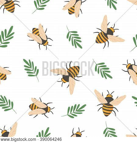 Bee Pattern. Cute Flying Bees Insects Kids Wallpaper Or Honey Wrapping Paper Seamless Vector Doodle
