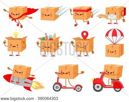 Cardboard Box Character. Fast Delivery Service Mascot. Cartoon Boxes With Faces. Shipping Package On