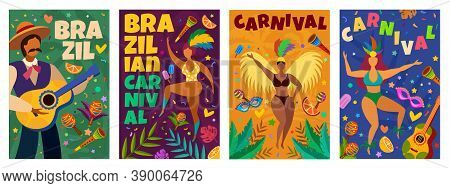 Brazilian Carnival. Banner With Masquerade Latino Elements Dance Parade, Dancers And Musicians, Conf