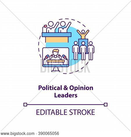 Political And Opinion Leader Concept Icon. Influencers Type Idea Thin Line Illustration. Active Medi